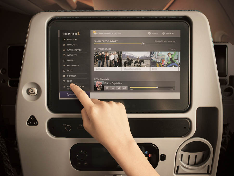 Singapore Airlines Enterntainment on board